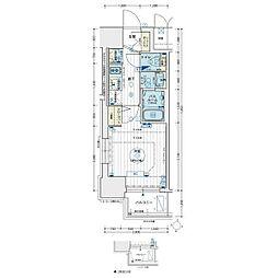 エステムコート名古屋新栄アクシス 7階1Kの間取り