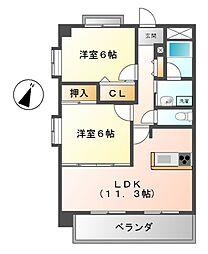 愛知県名古屋市南区六条町4丁目の賃貸マンションの間取り