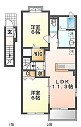 JR山陽本線 上道駅 徒歩17分の賃貸アパート 2階2LDKの間取り