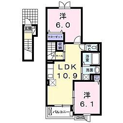 サンモール I 2階2LDKの間取り