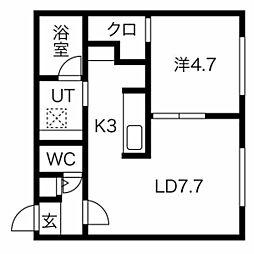 札幌市営南北線 澄川駅 徒歩5分の賃貸マンション 4階1LDKの間取り