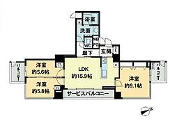 ベルファース大阪新町[24階]の間取り