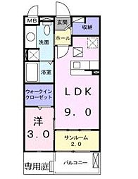 大阪府大阪市東住吉区照ケ丘矢田4の賃貸アパートの間取り