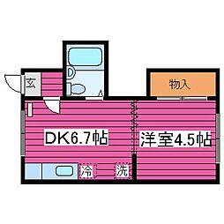 北海道札幌市北区北三十六条西3丁目の賃貸アパートの間取り