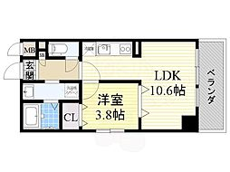 阪神本線 住吉駅 徒歩6分の賃貸マンション 8階1LDKの間取り