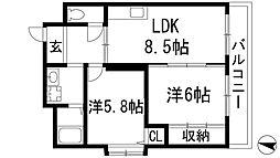 兵庫県伊丹市瑞ケ丘1丁目の賃貸マンションの間取り