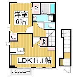 長野県松本市浅間温泉3丁目の賃貸アパートの間取り