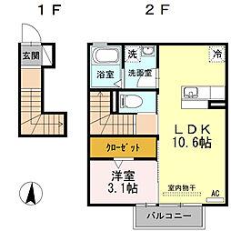 サンライズ Y[2階]の間取り
