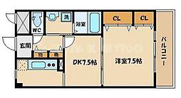 アージュヴェール 2階1DKの間取り