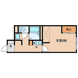 近鉄天理線 前栽駅 徒歩18分の賃貸アパート 1階1Kの間取り