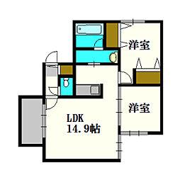 LOGEMENTS厚別中央[2階]の間取り