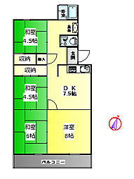 垂水高丸住宅[4階]の間取り