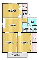 静岡県浜松市東区西塚町の賃貸アパートの間取り