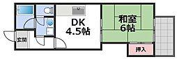 グリーンファミール石田 5階1DKの間取り
