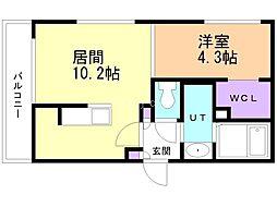 仮)casa AT白石2nd 4階1LDKの間取り