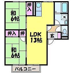 愛媛県松山市古川南3丁目の賃貸アパートの間取り