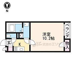 JR山陰本線 嵯峨嵐山駅 徒歩8分の賃貸アパート 1階1Kの間取り