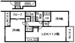 アフェット3[2階]の間取り