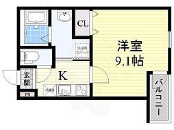 Osaka Metro今里筋線 だいどう豊里駅 徒歩7分の賃貸アパート 2階1Kの間取り