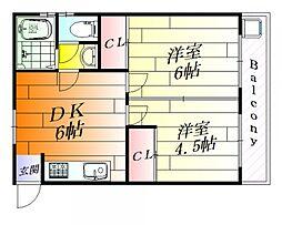 コージーコート千里丘[4階]の間取り
