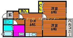 JR山陽本線 高島駅 徒歩10分の賃貸アパート 1階2DKの間取り
