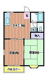 東京都立川市栄町5丁目の賃貸アパートの間取り