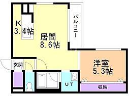 プレシェルト北栄 3階1LDKの間取り
