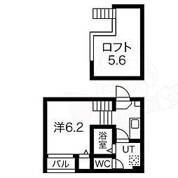 近鉄名古屋線 烏森駅 徒歩3分の賃貸アパート 1階1Kの間取り