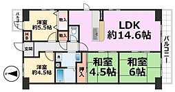 オリーブハイツ尼崎[5階]の間取り