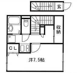 兵庫県姫路市網干区垣内西町の賃貸アパートの間取り