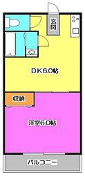 東京都東大和市新堀1丁目の賃貸アパートの間取り