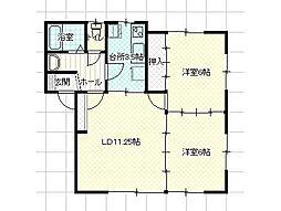 ブレスハウス A 2階2LDKの間取り