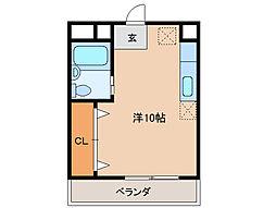 宮町OZビル 4階ワンルームの間取り