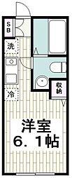 Refine戸塚 1階ワンルームの間取り