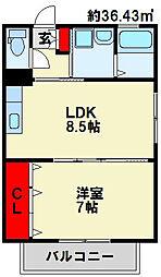 トレゾア湯川新町 A棟[2階]の間取り