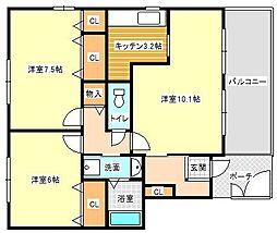 プロスペールA棟[2階]の間取り