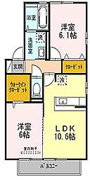 大阪府枚方市田口3丁目の賃貸アパートの間取り