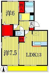 ベルデュールB[3階]の間取り