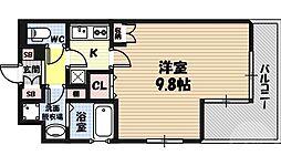 アクティコート京橋 8階1Kの間取り