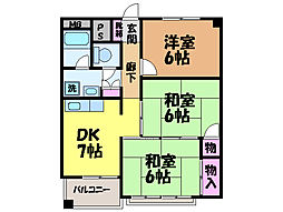 愛媛県松山市溝辺町の賃貸マンションの間取り