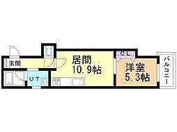 マハロ 3階1LDKの間取り
