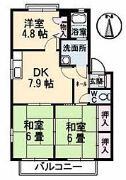 広島県広島市安佐北区小河原町の賃貸アパートの間取り