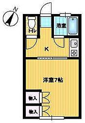 石橋アパート 2階1Kの間取り