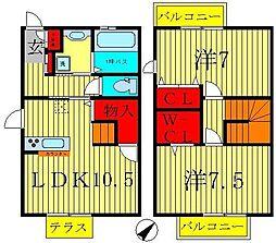 [テラスハウス] 千葉県松戸市和名ヶ谷 の賃貸【/】の間取り