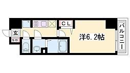 プレサンス神戸キュリオ 10階1Kの間取り