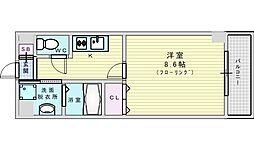 阪急千里線 山田駅 徒歩9分の賃貸マンション 3階1Kの間取り