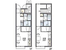 JR鹿児島本線 田代駅 徒歩16分の賃貸アパート 2階1Kの間取り