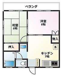 エザース山田A[202号室]の間取り