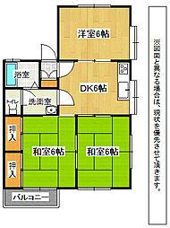 福岡県中間市中央3丁目の賃貸アパートの間取り
