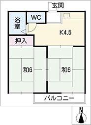 シェリール竜美ヶ丘 B棟[2階]の間取り